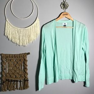 Old navy mint green open cardigan sweater